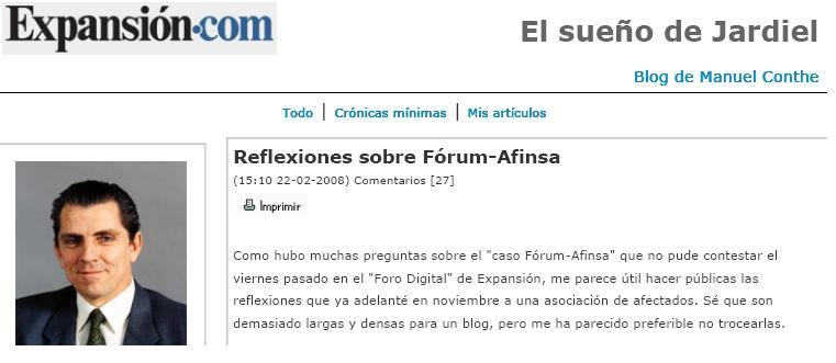 bloconexfin1 Conthe desvela una conspiración en el caso Forum  Afinsa