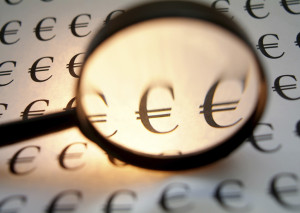 Euro under loupe