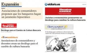 noticiamedios 300x183 Gran repercusión del Decálogo para el Cambio de Cultura Bancaria en los medios