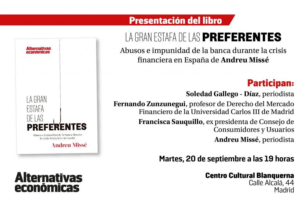 presentacion libro 01 2 1024x679 'La gran estafa de las preferentes', este martes en Madrid