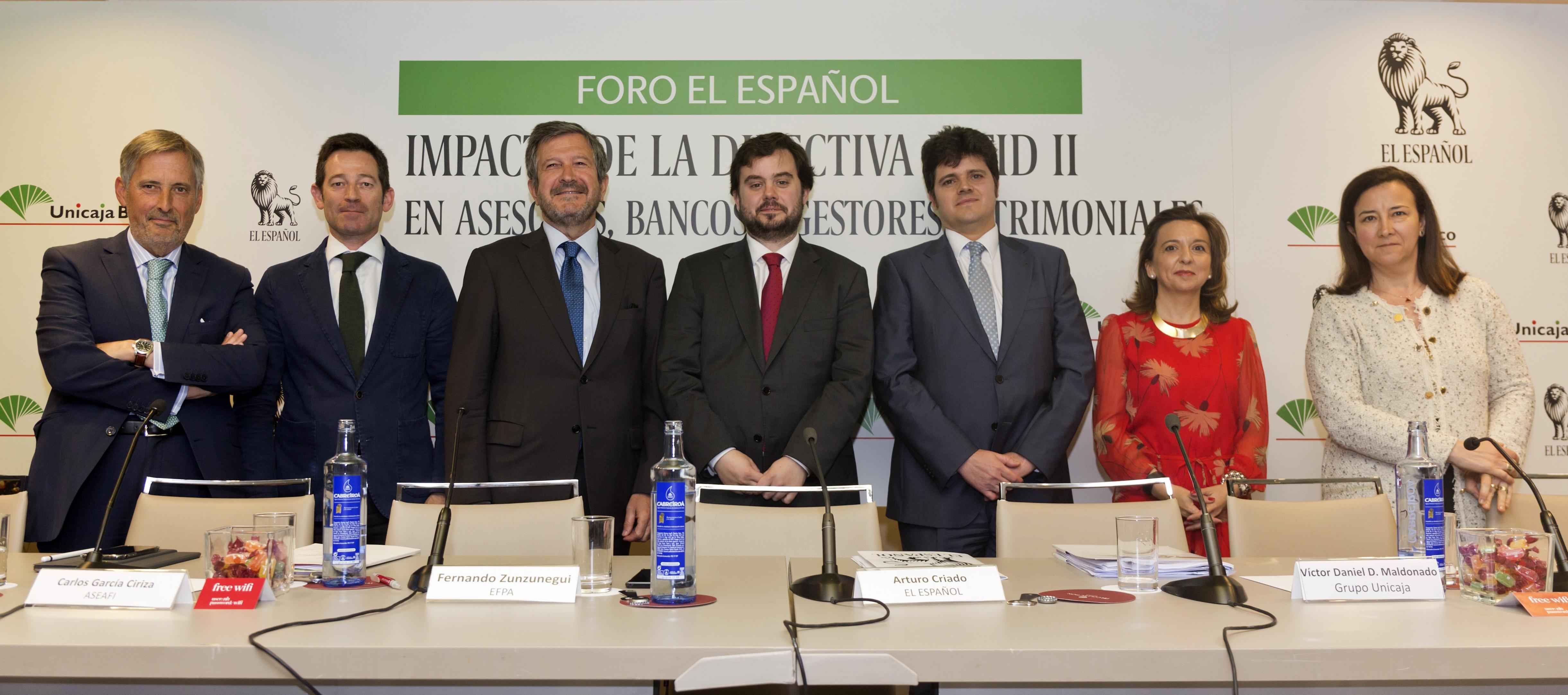 Ponentes Foro MiFID II El Español Unicaja MiFID II a debate: el asesoramiento es la clave para superar la asimetría financiera
