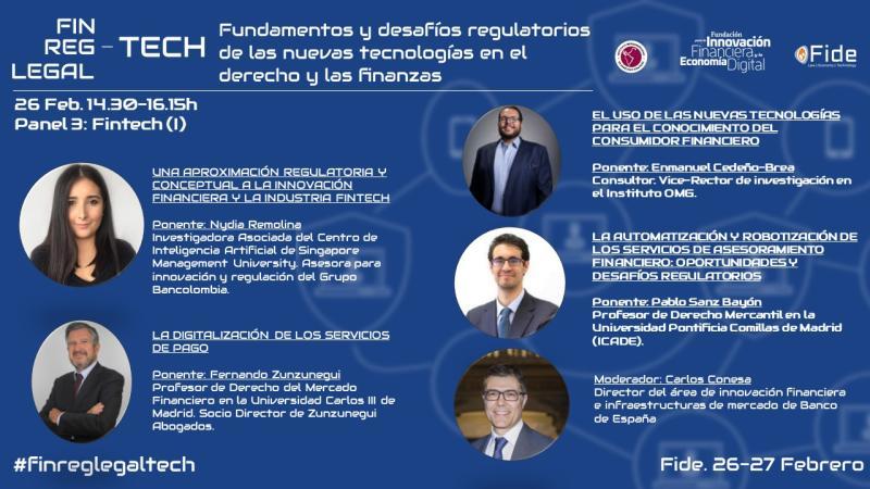 Zunzunegui Fintech Regtech y Legaltech Congreso de Fintech, Regtech y Legaltech: Fundamentos y desafíos regulatorios de las nuevas tecnologías en el derecho y las finanzas